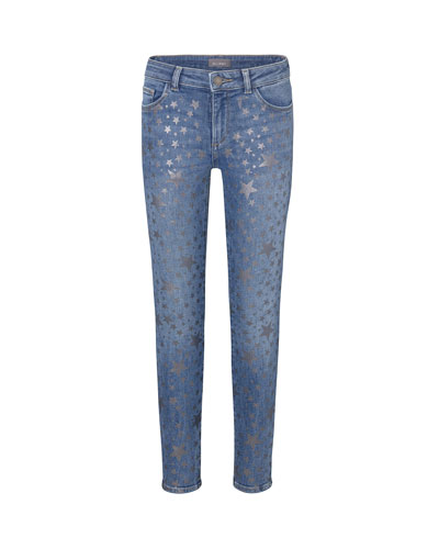 Girl's Chloe Metallic Star Print Denim Jeans, Size 2-6