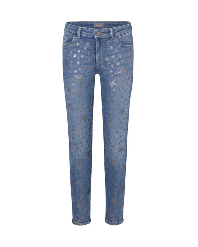 Girl's Chloe Metallic Star Print Denim Jeans, Size 7-16