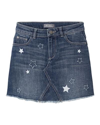 Girl's Jenny Star Embroidered Denim Skirt, Size 7-16