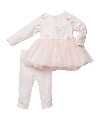Floral Embroidered Tutu Top w/ Pants, Size 3-24 Months