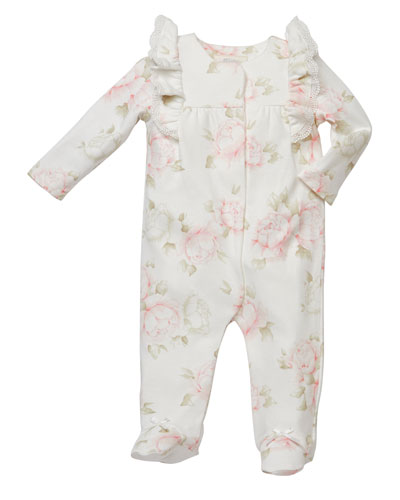 Ruffle-Shoulder Floral-Print Footed Playsuit, Size 3-9 Months