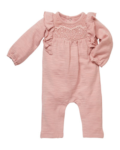 Lace Front Ruffled Playsuit, Size 3-9 Months