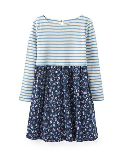 Layla Striped & Floral Long-Sleeve Dress, Size 2-6