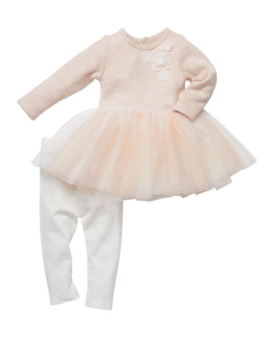 Floral-Embroidered Tutu Top w/ Ruched Leggings, Size 3-24 Months