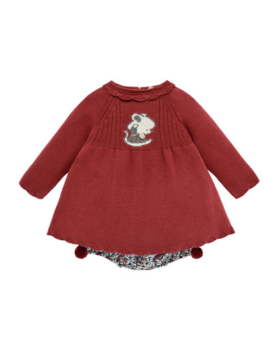 Mouse Intarsia Long-Sleeve Dress w/ Floral-Print Bloomers, Size 3M-2
