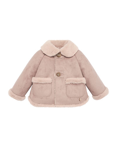 Girl's Button Front Jacket w/ Faux Shearling Trim, Size 2-6