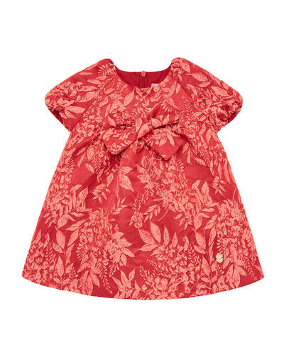 Girl's Leaf Jacquard Dress, Size 2-6