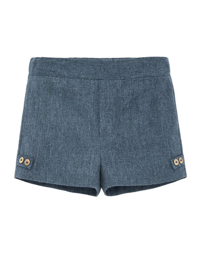 Cotton-Blend Tweed Shorts, Size 12M-3