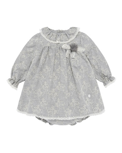 Eyelet Embroidered Lace Trim Dress w/ Bloomers, Size 12M-3