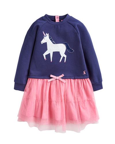 Girl's Hettie Sequin Unicorn Dress, Size 2-6