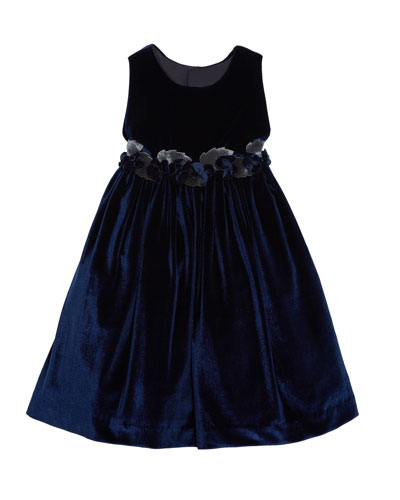 Sleeveless Velvet Dress With Rose Trim & Button-Back, Size 3T-8