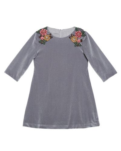 3/4-Sleeve Beaded Velvet Dress, Silver, Size 6-8