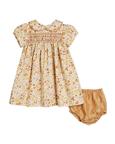 Hand-Embroidered Floral Peter Pan Collar Dress w/ Bloomers, Size 6-12 Months