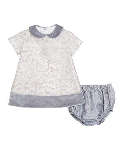 Winter Story Velvet-Trim Dress w/ Matching Bloomers, Size 12-24 Months
