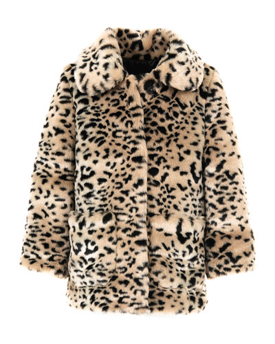 Kid's Cheetah-Print Faux-Fur Coat, Size XXS-L