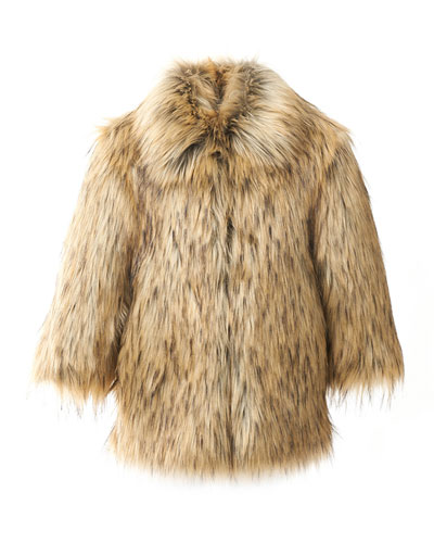 Kid's Faux-Fur Coat, Size XXS-L