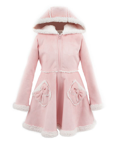 Kid's Faux Suede Hooded Princess Coat, Size XXS-L