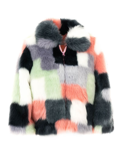 Kid's Faux-Fur Patchwork Coat, Size XXS-L