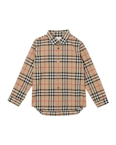 Fredrick Long-Sleeve Check Shirt, Size 3-14