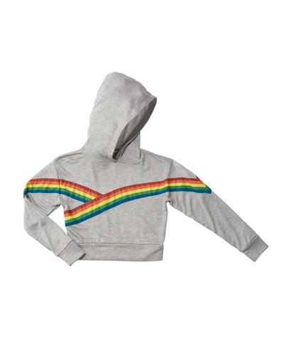 Girl's Rainbow Taping Trim Hoodie, Size S-XL