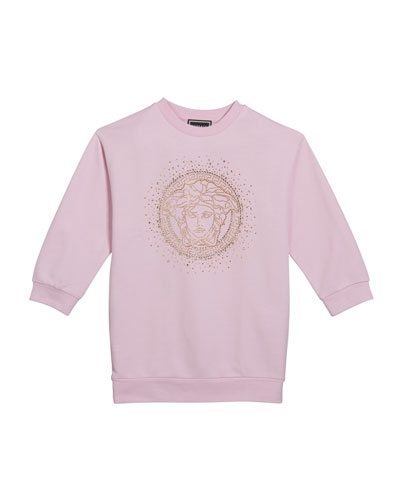 Girl's Sweatshirt Dress w/ Crystal Medusa Logo, Size 4-6