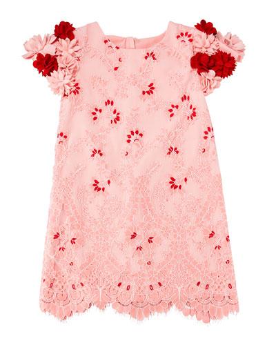 Lace Dress w/ 3D Felt Flower Sleeves, Size 10-12