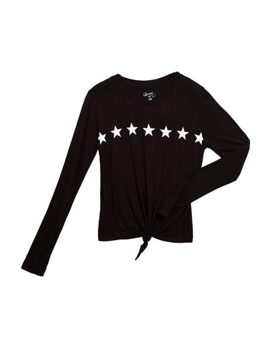 Girl's Star Graphic Tie Front Tee, Size S-XL