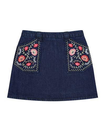 Rhea Denim Embroidered A-Line Skirt, Size 8-12