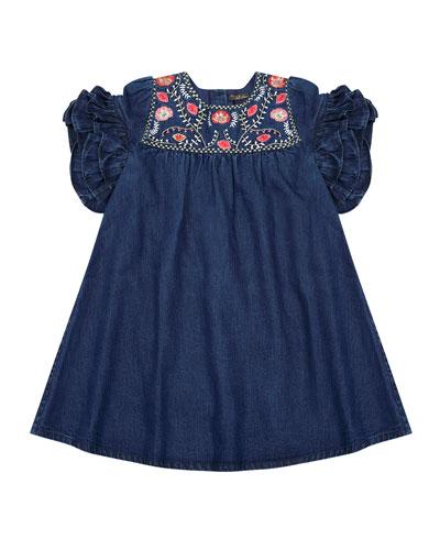 Ginny Denim Embroidered Dress, Size 4-6