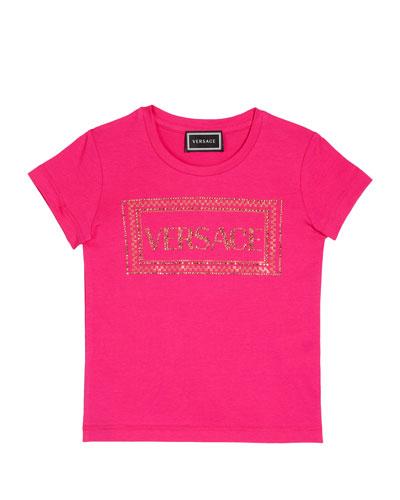 Girl's Studded Logo T-Shirt, Size 4-6