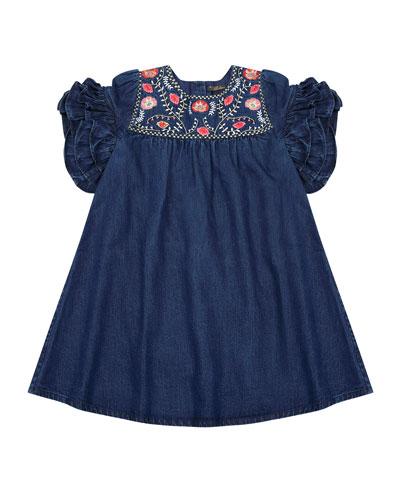 Ginny Denim Embroidered Dress, Size 8-12