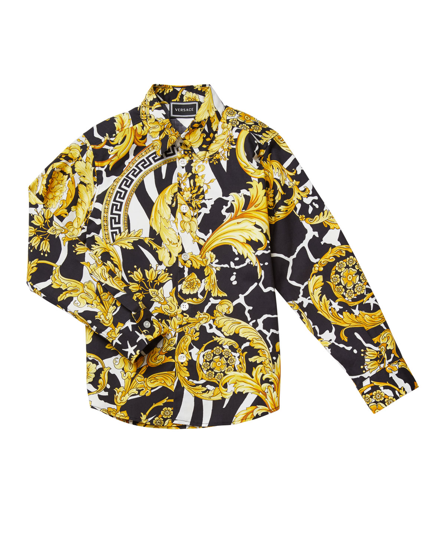 Versace BOY'S BAROCCO PRINT DRESS SHIRT