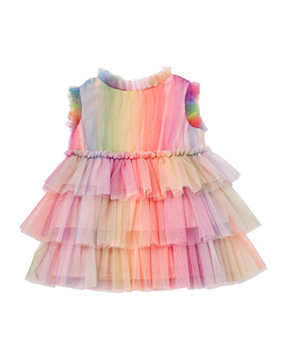 Rainbow Tulle Ruffle Dress, Size 6-24 Months