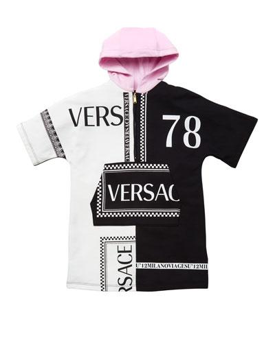 Girl's Hooded Colorblock Logo Sweatshirt Dress, Size 4-6