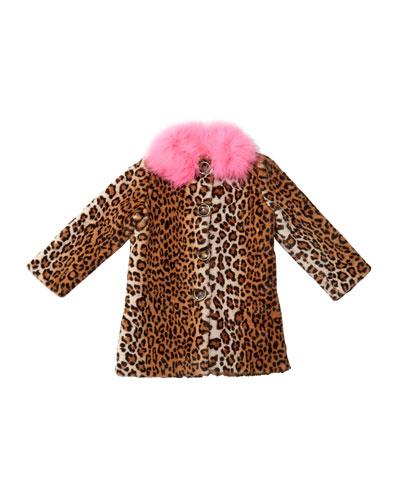 Nala Leopard Print Faux Fur Coat, Size 4-8