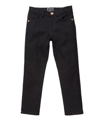 Boy's Denim Jeans w/ Barocco Print Back Pockets, Size 8-14