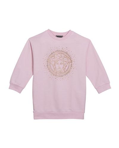 Girl's Sweatshirt Dress w/ Crystal Medusa Logo, Size 8-14