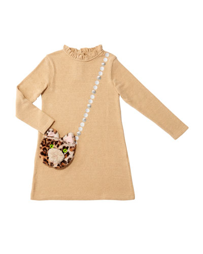 Girl's Mimi Long-Sleeve Dress w/ Attached Faux Fur Crossbody Bag, Size 4-8