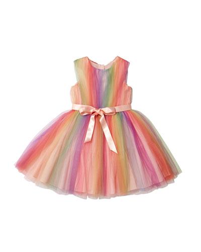 Rainbow Tulle Sleeveless Dress, Size 10-12