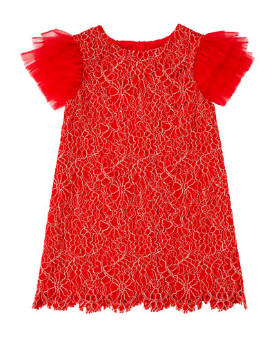 Woven Lace Dress w/ Tulle Flutter Sleeves, Size 10-12
