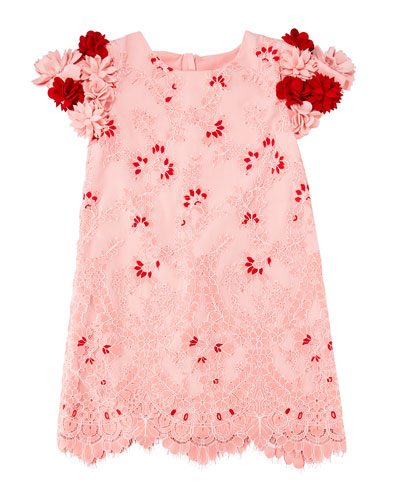 Lace Dress w/ 3D Felt Flower Sleeves, Size 4-8