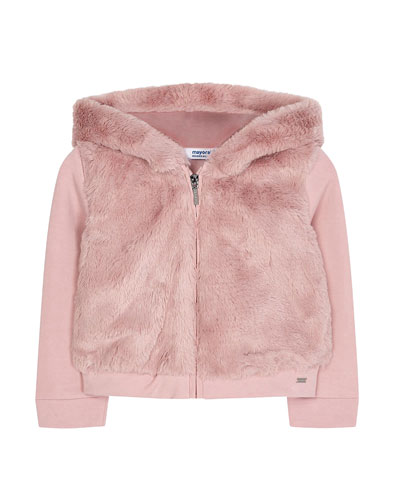 Girl's Faux Fur Hooded Zip-Up Jacket, Size 4-7