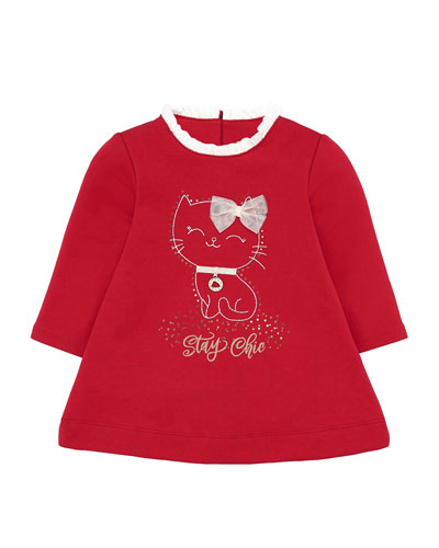 Girl's Stay Chic Cat Graphic Dress, Size 6-36 Months