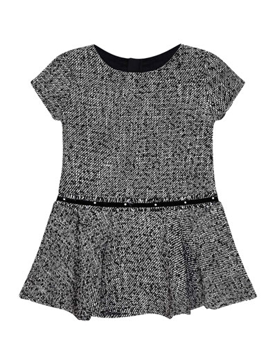 Girl's Short-Sleeve Knit Dress w/ Faux Pearl Belt, Size 4-7