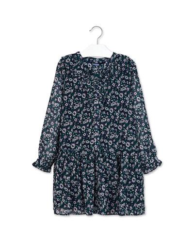 Girl's Floral Print Ruffle Trim Dress, Size 8-16