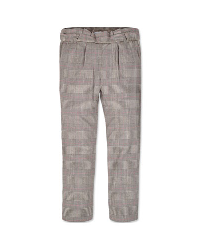 Girl's Straight Leg Plaid Pants, Size 8-16