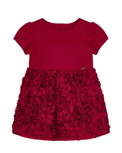 Girl's Floral 3D Lace Cap-Sleeve Dress, Size 4-7