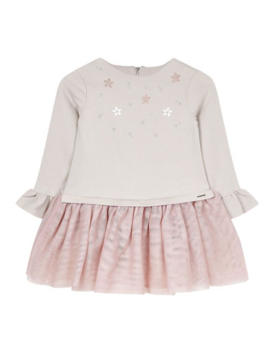 Girl's Studded Voile Dress, Size 4-7