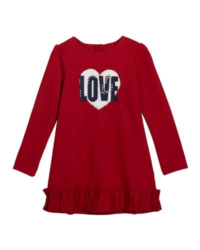 Girl's Love Long-Sleeve Dress, Size 4-7