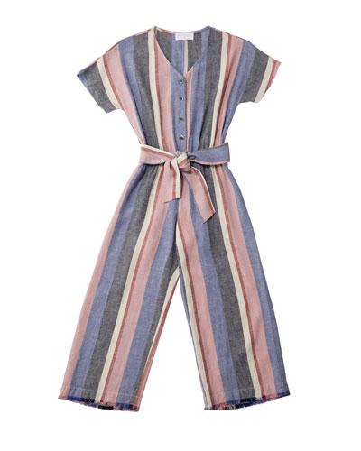 Multi-Stripe Frayed Jumpsuit w/ Belted Waist, Size 8-14